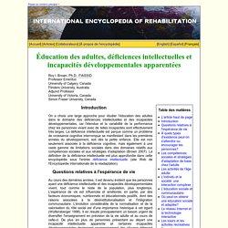 Éducation des adultes, déficiences intellectuelles et incapacités développementales apparentées