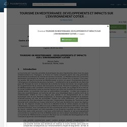 TOURISME EN MEDITERRANEE: DEVELOPPEMENTS ET IMPACTS SUR L'ENVIRONNEMENT COTIER