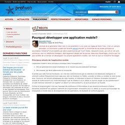 Pourquoi développer une application mobile?