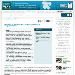 L'Agence nationale des Usages des TICE - Les Wikis et les réseaux sociaux pour développer l'argumentation
