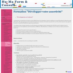 """Formation """"Développer votre assertivité"""" - Hu-Ma Form & Consult"""