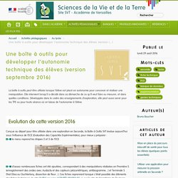 Une boîte à outils pour développer l'autonomie technique des élèves (version septembre 2016) - Sciences de la Vie et de la Terre