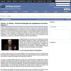 Cnesco : JL Dufays : Comment développer les compétences en lecture littéraire ?
