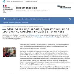 """Développer le dispositif """"quart d'heure de lecture"""" au collège : enquête et synthèse"""