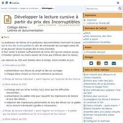 Développer la lecture cursive à partir du prix des Incorruptibles - Lettres