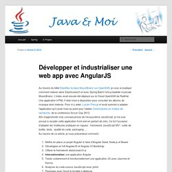 Développer et industrialiser une web app avec AngularJS