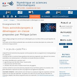 Trois activités/projets à développer en classe - Numérique et sciences informatiques