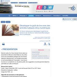Développer le goût de lire avec des activités ludiques et/ou numériques - [Espace Doc Web]