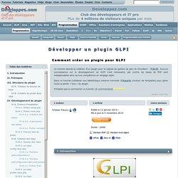 Développer un plugin GLPI