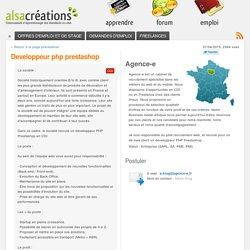 Developpeur php prestashop - Offre d'emploi CDI (Agence-e)