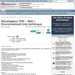 Développeur PHP - Web / Environnement très technique, offres d'emploi IT