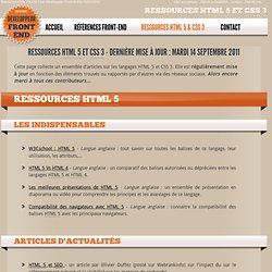 Ressources en développement Front-end : HTML 5, CSS 3