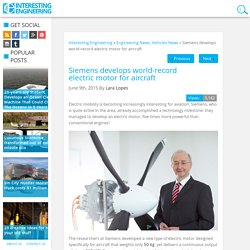 Siemens develops world-record electric motor for aircraft
