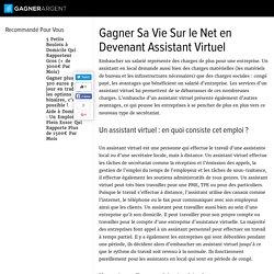 Gagner Sa Vie Sur le Net en Devenant Assistant Virtuel