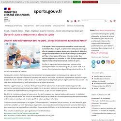 Devenir auto-entrepreneur dans le sport -