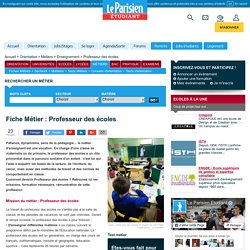 Devenir Professeur des écoles – Fiche métier Professeur des écoles