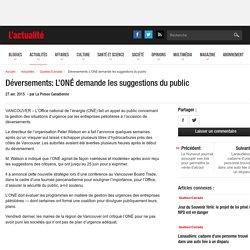 Déversements: L'ONÉ demande les suggestions du public
