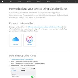 How to back up your devices using iCloud or iTunes