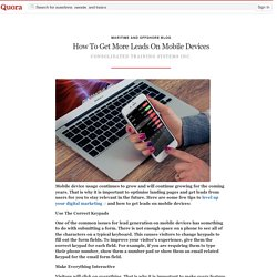 How To Get More Leads On Mobile Devices - Maritime and Offshore Blog - Quora