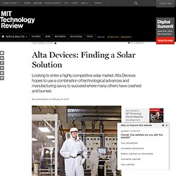 Alta Devices: Finding a Solar Solution