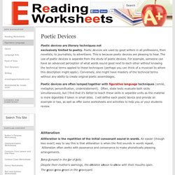 Poetic Devices Worksheets and Activites