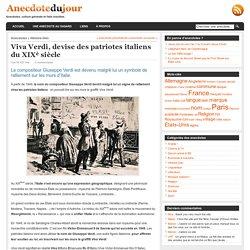 Viva Verdi, devise des patriotes italiens du XIXè siècle