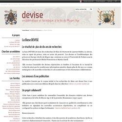 La Base DEVISE - Devise - CESCM - Université de Poitiers