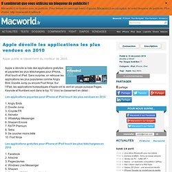 Apple dévoile les applications les plus vendues en 2010