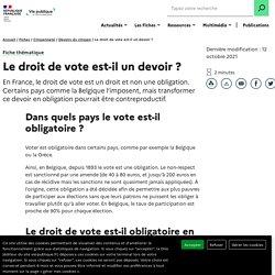 Le droit de vote est-il un devoir, le vote est-il obligatoire