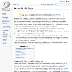 Devolution (biology)