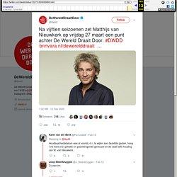 """DeWereldDraaitDoor on Twitter: """"Na vijftien seizoenen zet Matthijs van Nieuwkerk op vrijdag 27 maart een punt achter De Wereld Draait Door. #DWDD"""