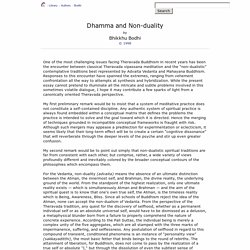 Dhamma and Non-duality