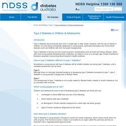Type 2 Diabetes in Children & Adolescents