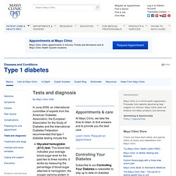 Type 1 diabetes Tests and diagnosis