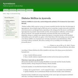 Diabetes Mellitus in Ayurveda