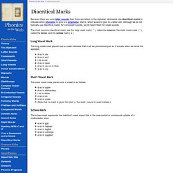 Diacritical Marks (Phonics on the Web)