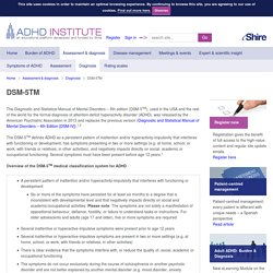 ADHD Diagnosis - DSM-V definition of ADHD, ADD