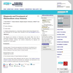 ASTMH 06/10/16 Diagnosis and Treatment of Plasmodium vivax Malaria