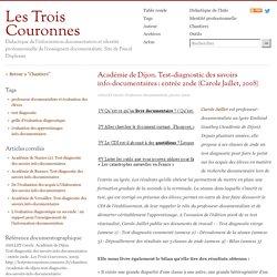 Académie de Dijon. Test-diagnostic des savoirs info-documentaires : entrée 2nde (Carole Jaillet, 2008)