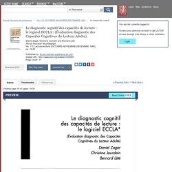 Le diagnostic cognitif des capacités de lecture : le logiciel ECCLA : (Évaluation diagnostic des Capacités Cognitives du Lecteur Adulte) on JSTOR