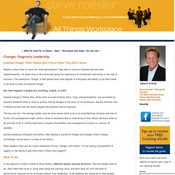 Changes: Diagnostic Leadership