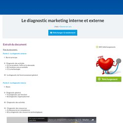 Le diagnostic marketing - cours marketing gratuit