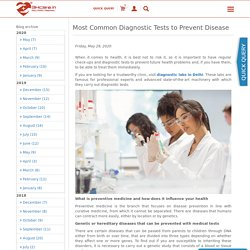 Most Common Diagnostic Tests to Prevent Disease