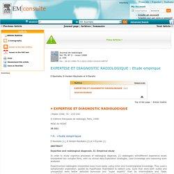 Expertise et diagnostic radioloique