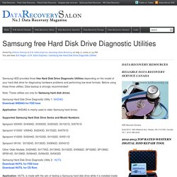 Samsung free Hard Disk Drive Diagnostic Utilities