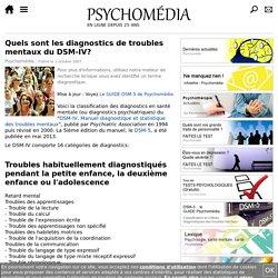 Quels sont les diagnostics de troubles mentaux du DSM-IV?