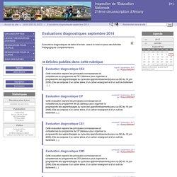 Evaluations diagnostiques septembre 2014 - Inspection de l'Education Nationale 21ème circonscription d'Antony