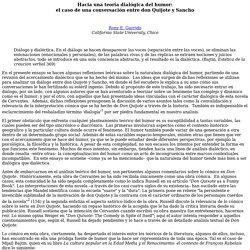 Hacia una teoría dialógica del humor: el caso de una conversación entre don Quijote y Sancho