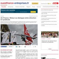 Air France. Retour au dialogue entre direction et syndicats