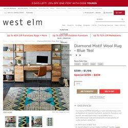 Diamond Motif Wool Rug - Blue Teal